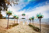 Decorations for wedding ceremony on the beach in Thailand