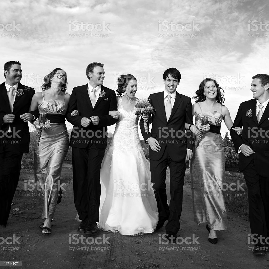 Wedding picture with husband, wife and best men and women stock photo