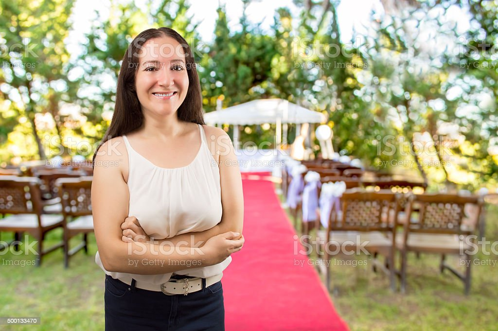 wedding planner smiling stock photo