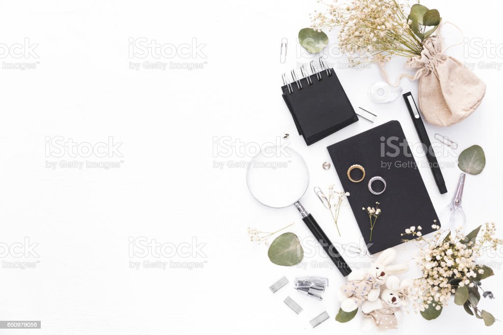 Wedding Planning and design concept. Flat lay styling stock photo