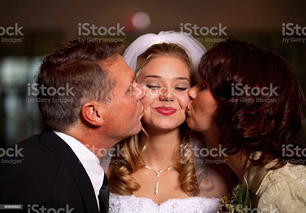 wedding portrait - bride and father stock photo