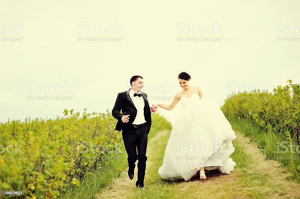 Wedding portrait of a young couple stock photo