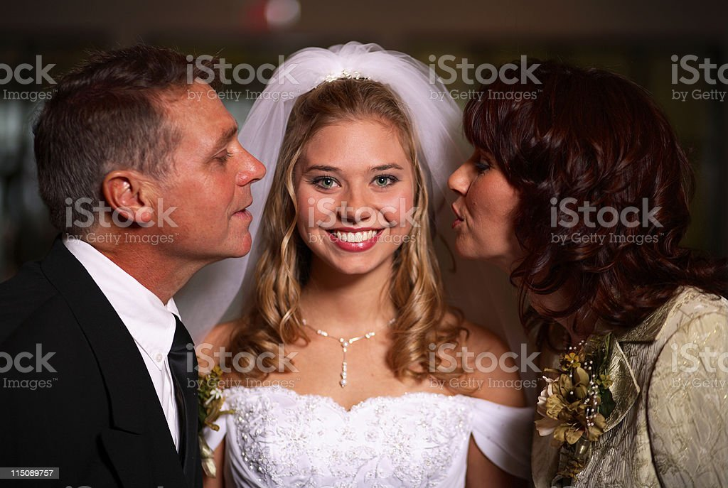 wedding portraits - parents and bride royalty-free stock photo