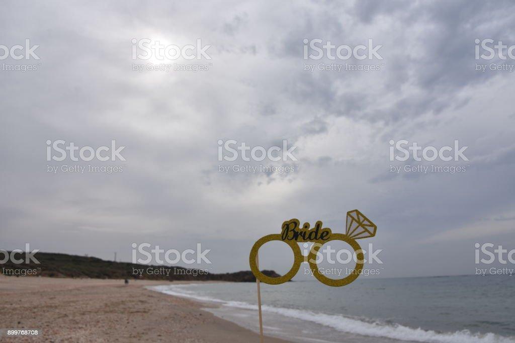 Wedding prop on the beach stock photo
