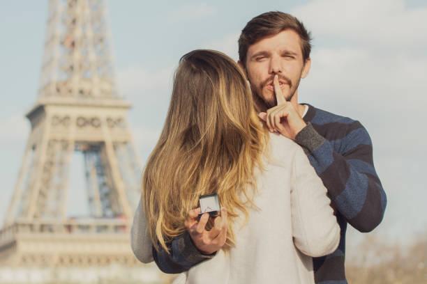 Wedding proposal in Paris stock photo