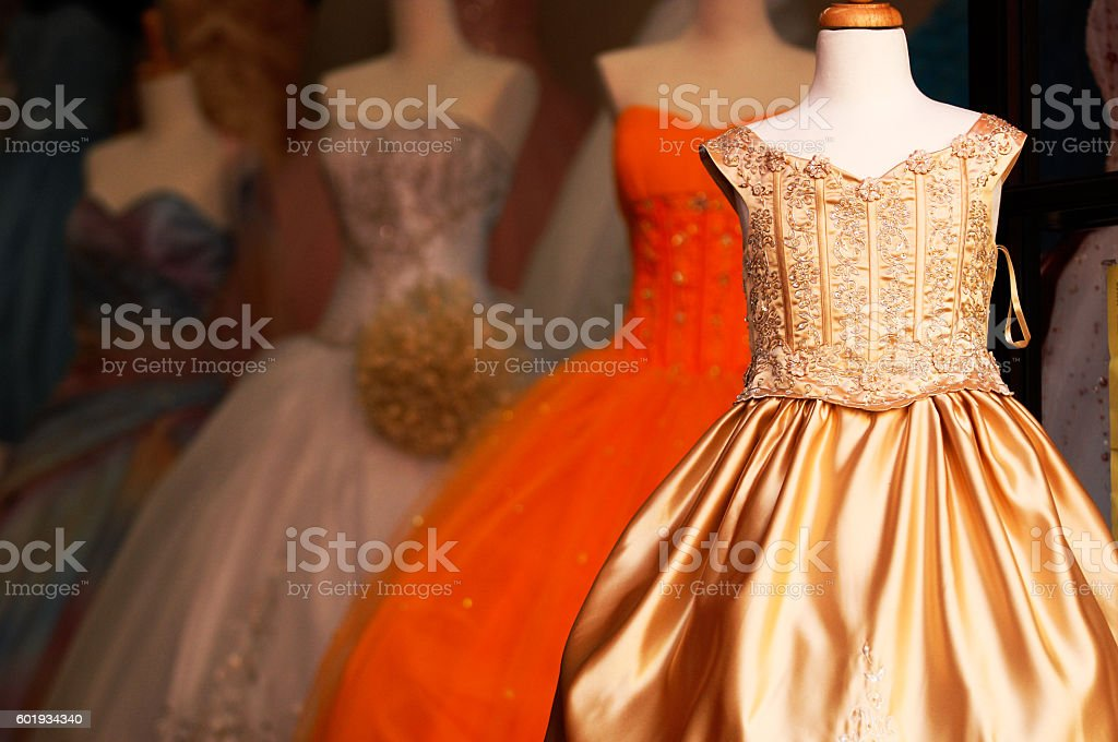 Wedding quinceanera gowns on mannequins stock photo