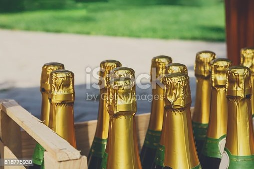 istock Wedding reception, box with champagne or wine 818775930
