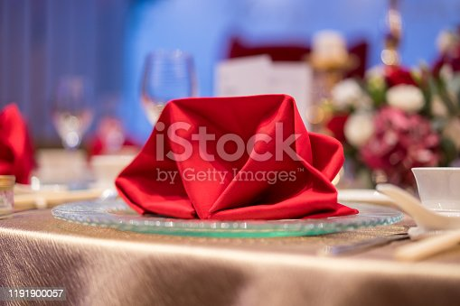 Wedding reception dining table decoration in banquet hall