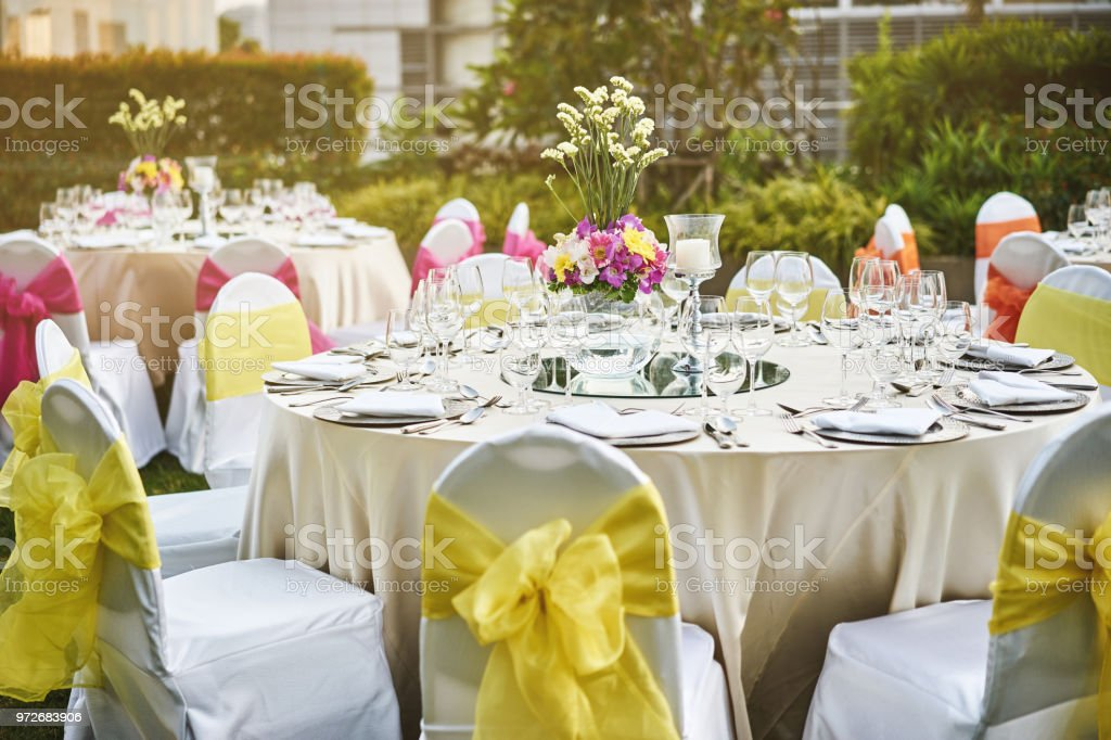 Wedding Reception Dinner Table Setting With Flower