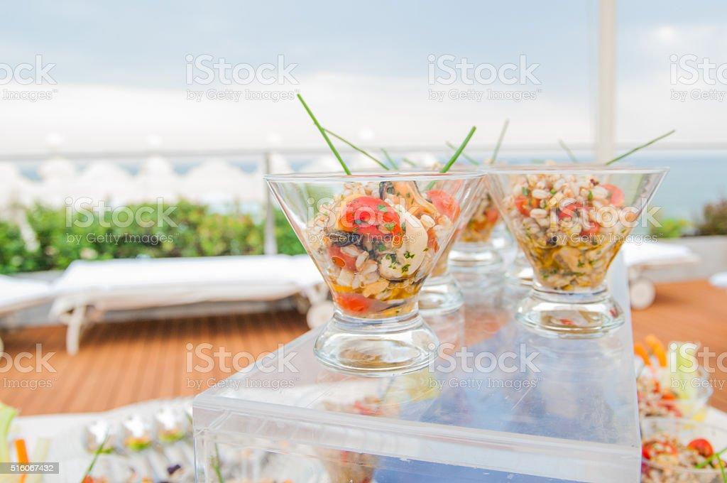 Recepción de boda de alimentos - foto de stock