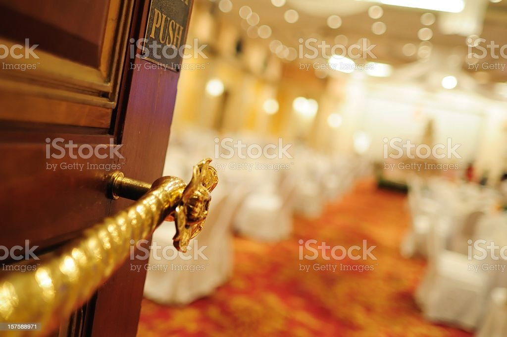 Wedding reception hall entrance focus at the door stock photo