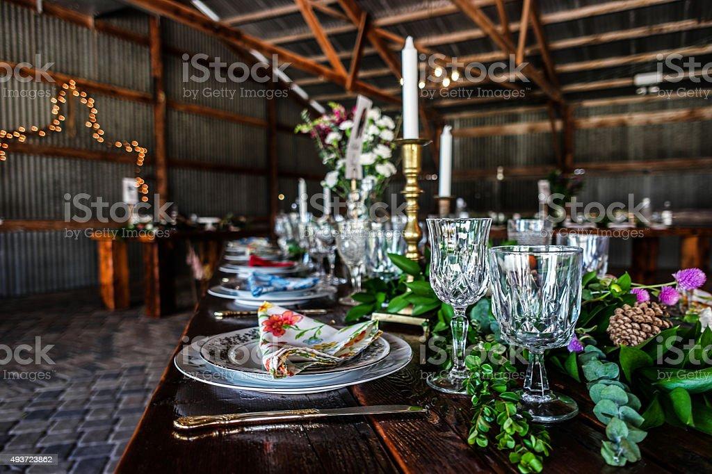Wedding Reception in an Illinois Barn stock photo