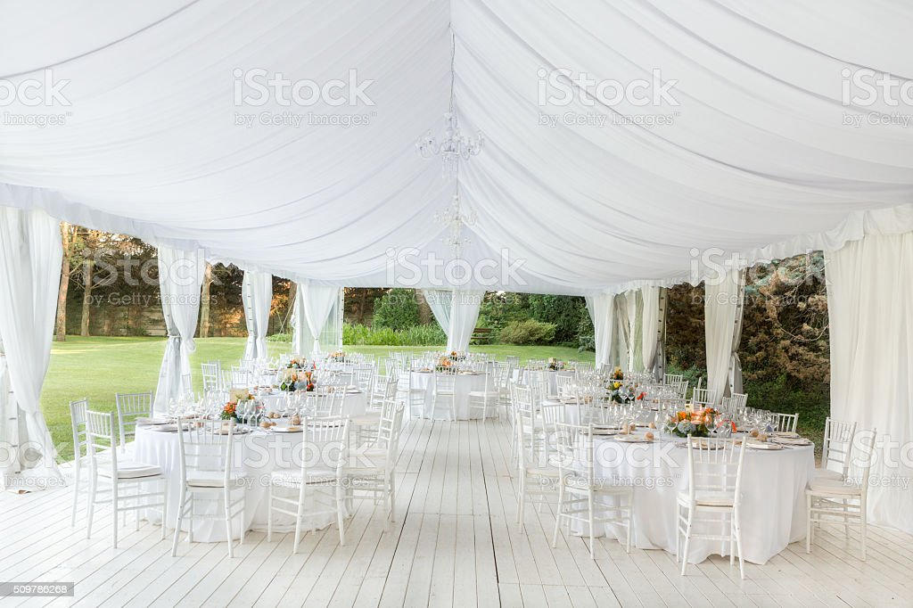 wedding reception outdoor stock photo
