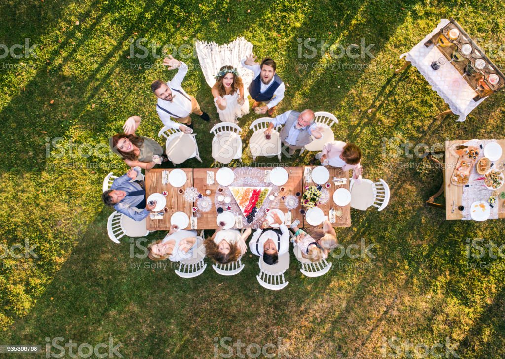Wedding Reception Outside In The Backyard Stock Photo More