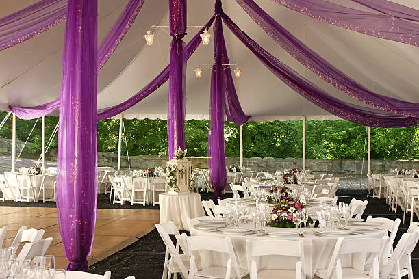 Wedding Reception Ready for an outdoor wedding reception. entertainment tent stock pictures, royalty-free photos & images