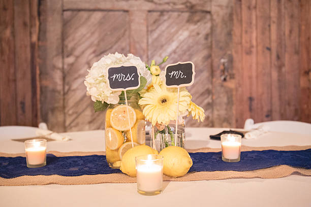 Wedding Reception Table Centerpiece with Mr. and Mrs.Signs stock photo