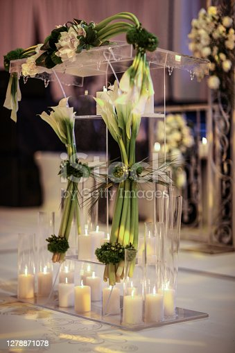 istock Wedding reception table for wedding couple with bride and groom wording 1278871078