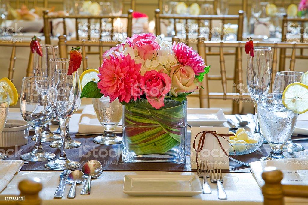 Wedding Reception table setting stock photo