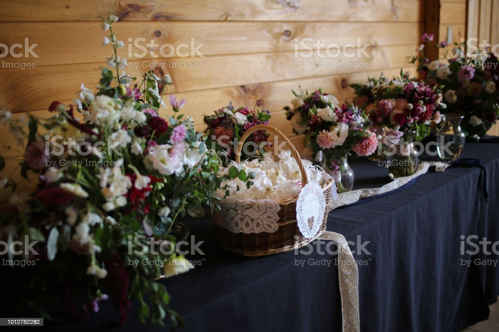 Wedding Reception Table With Wedding Favors Floral Arrangements