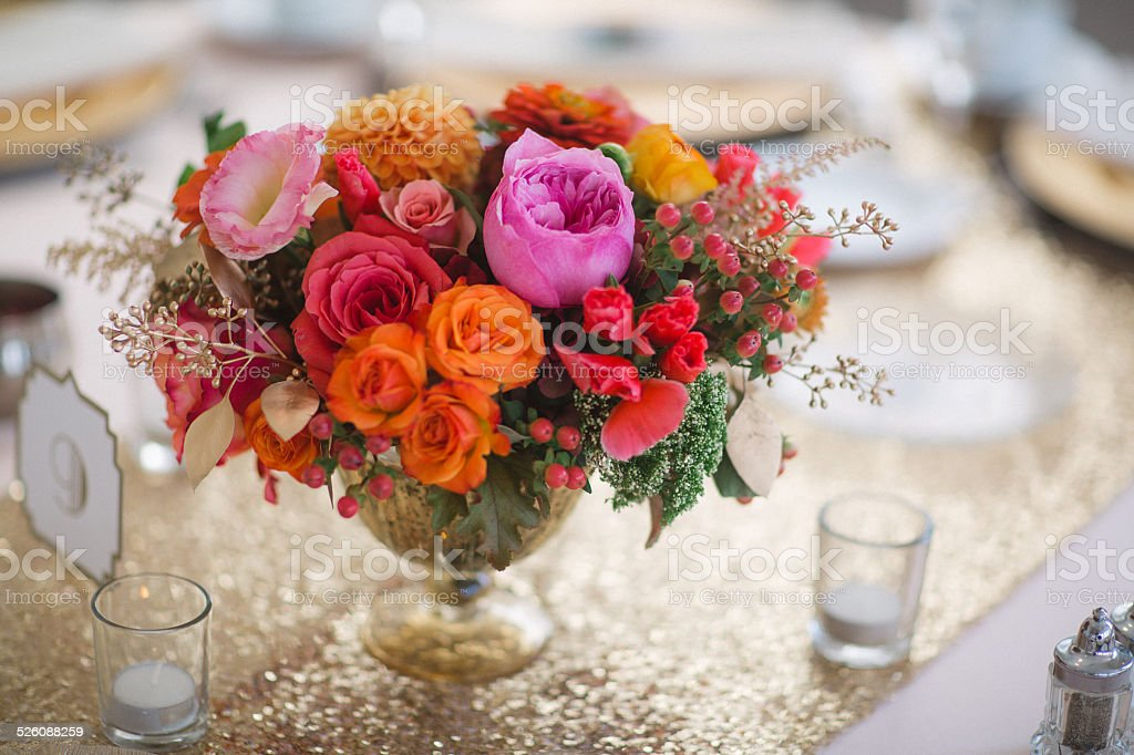 Wedding Reception Tables With Floral Centerpieces Stock Photo Download Image Now Istock