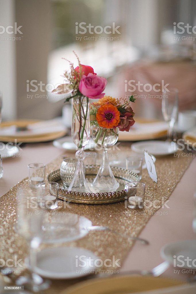 Wedding Reception Tables With Floral Centerpieces Stock Photo More