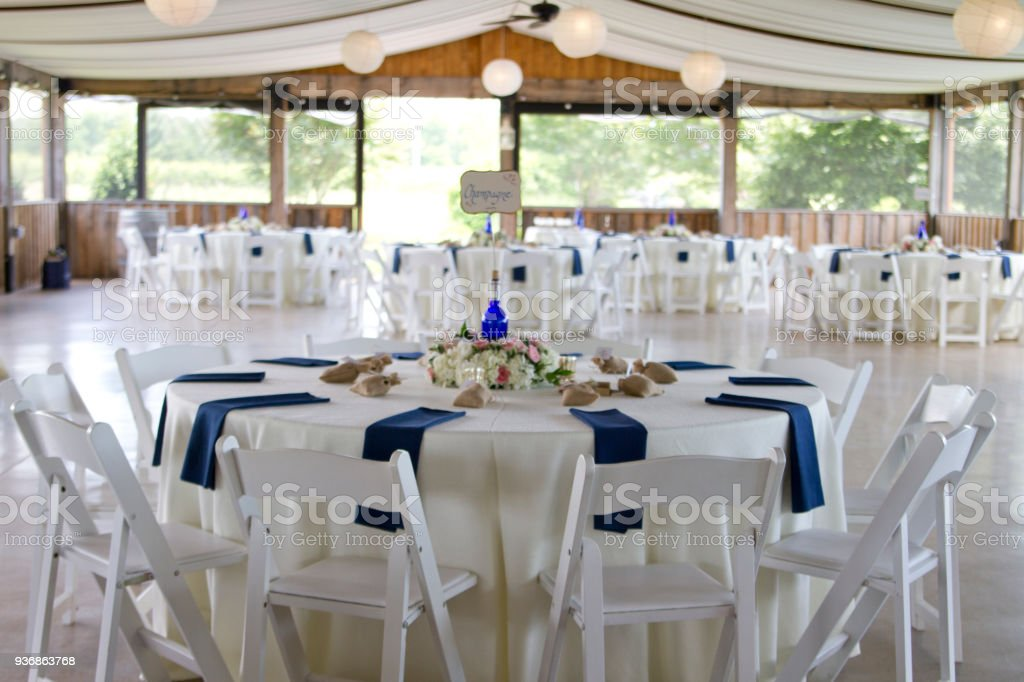 Wedding Reception: White, Blue, And Pink Wedding Table Setting Royalty Free  Stock
