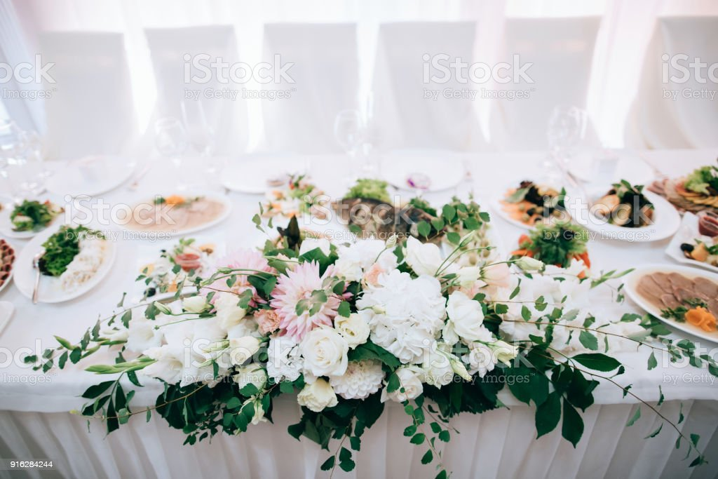 Wedding Reception White Table Arrangement Floral Centerpiece