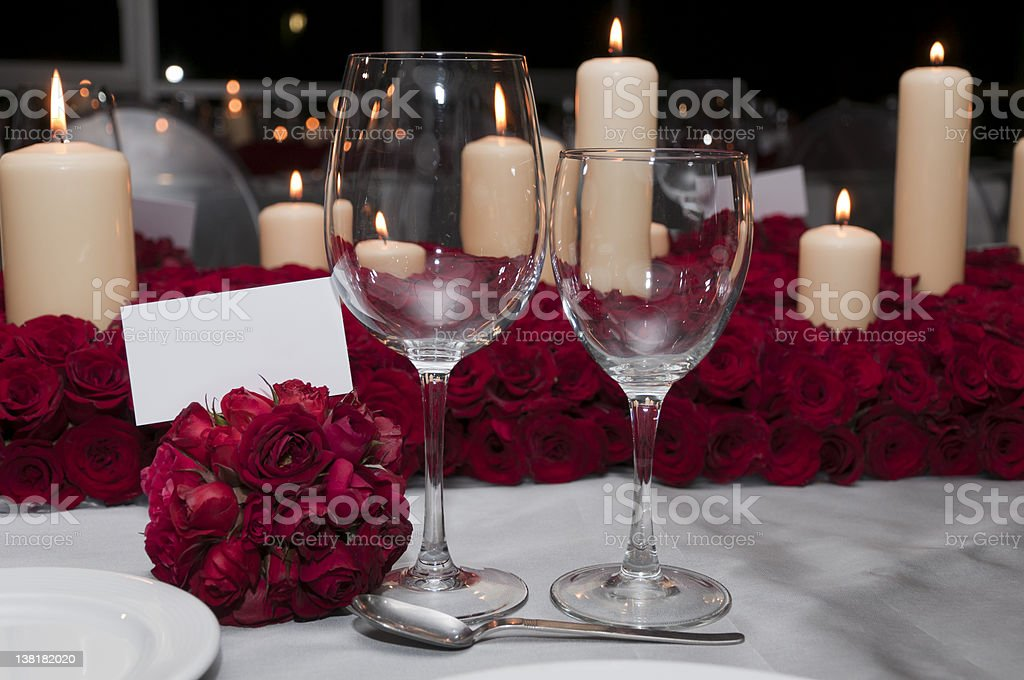 Wedding reception with white place card royalty-free stock photo