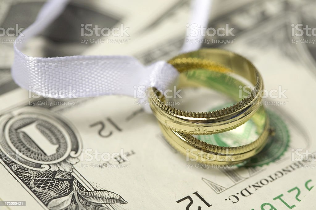 wedding ring and money royalty-free stock photo