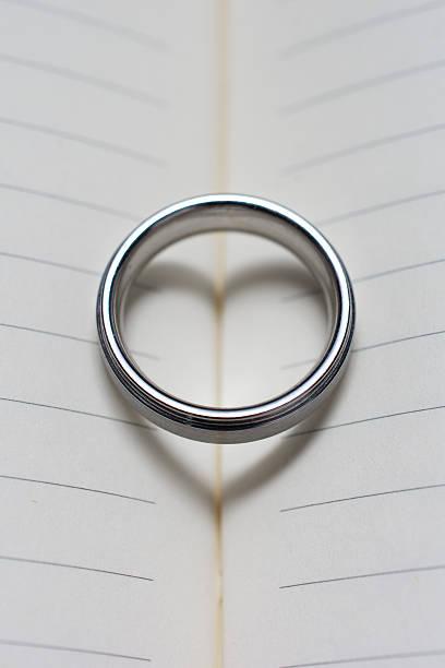 wedding ring band on book with heart shadow close up - verse zur hochzeit stock-fotos und bilder