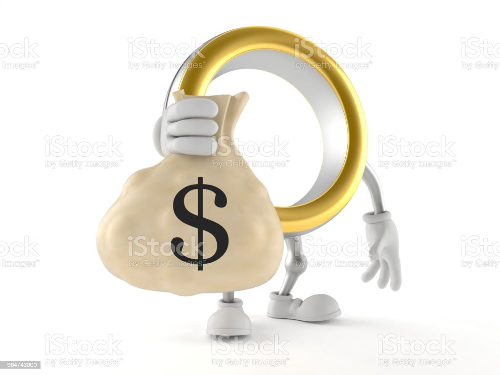 Wedding ring character holding money bag royalty-free stock photo