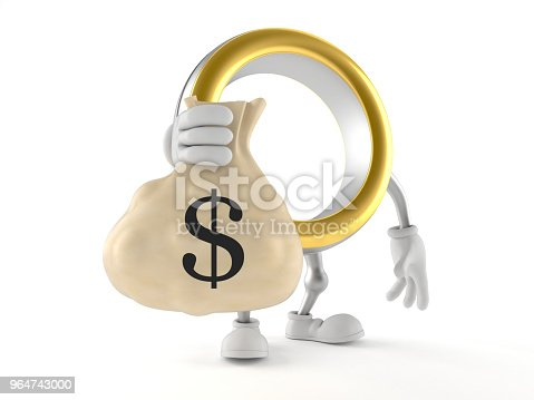 Wedding Ring Character Holding Money Bag Stock Photo & More Pictures of Bag