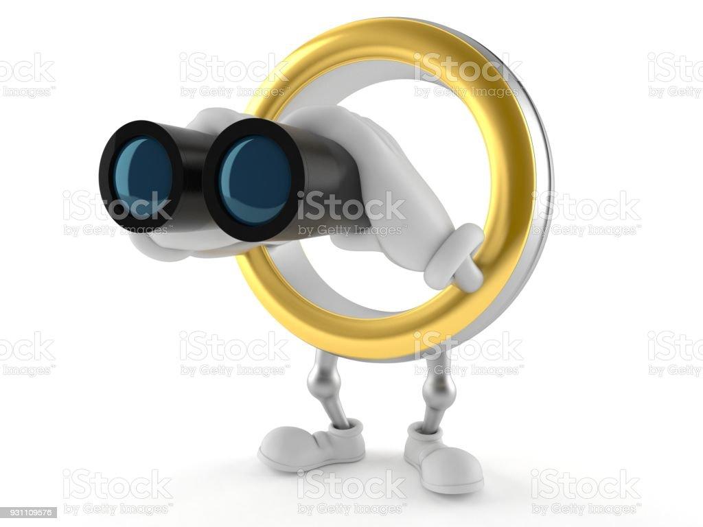 Alyans karakter dürbün ile seyir - Royalty-free Altın - Metal Stok görsel