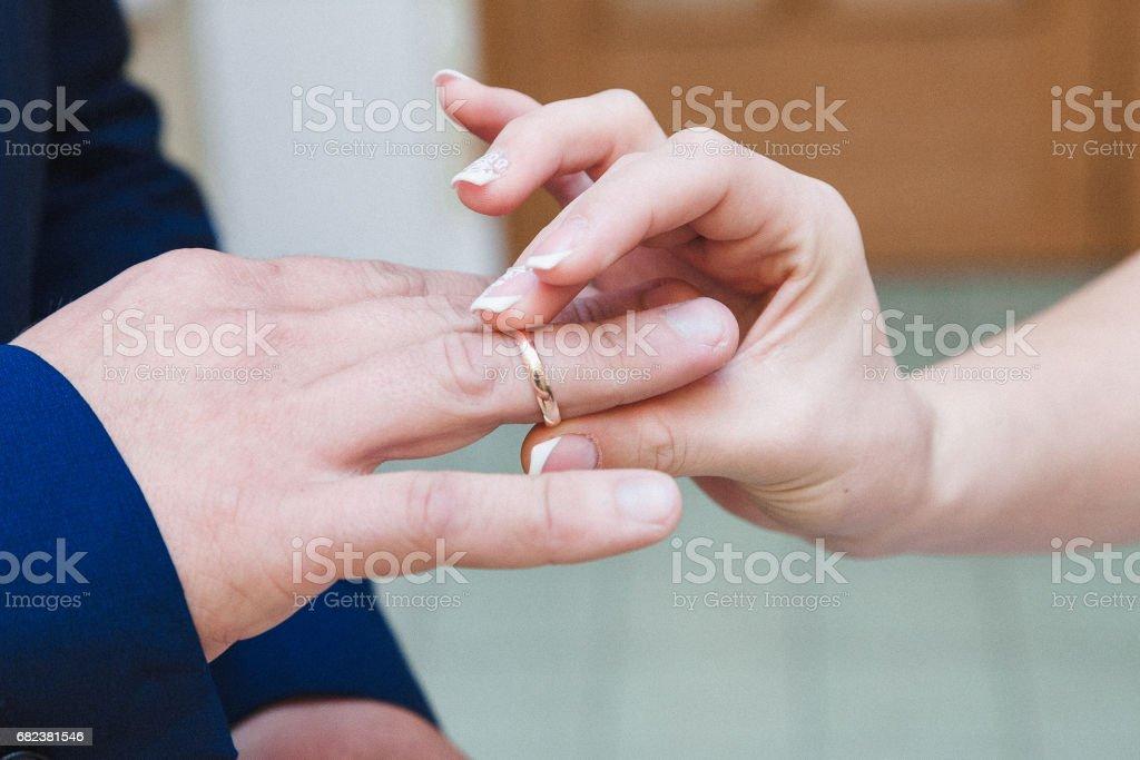 Wedding ring exchange photo libre de droits