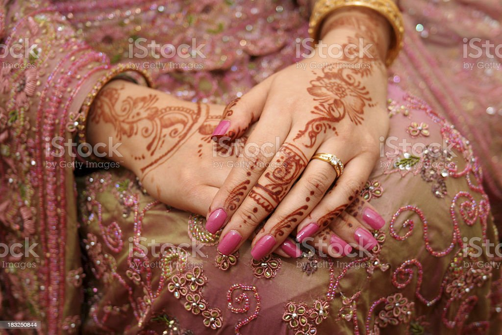 Wedding Ring Henna Hands Stock Photo More Pictures Of Asian And
