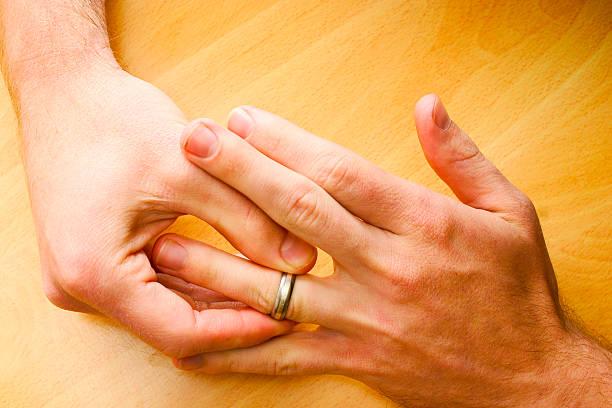 Wedding ring off stock photo