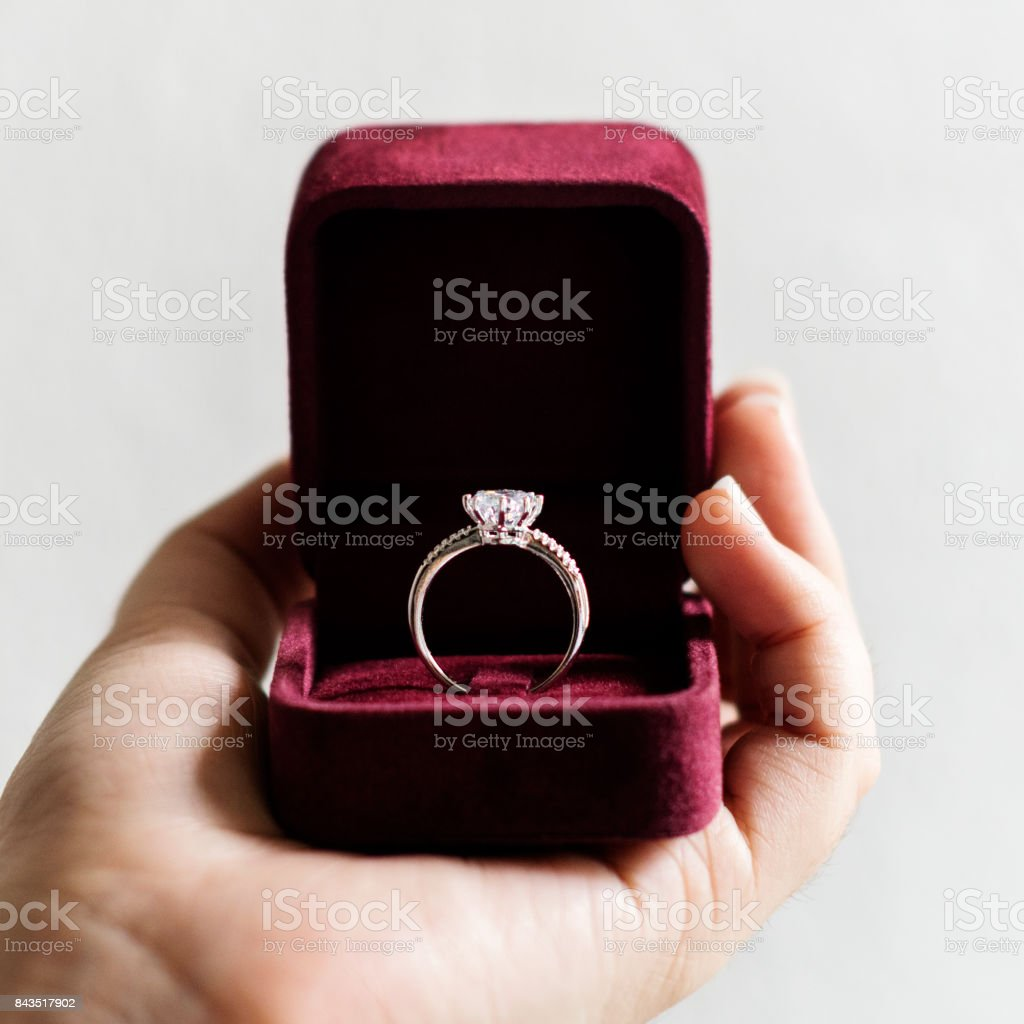 Wedding ring on the box stock photo