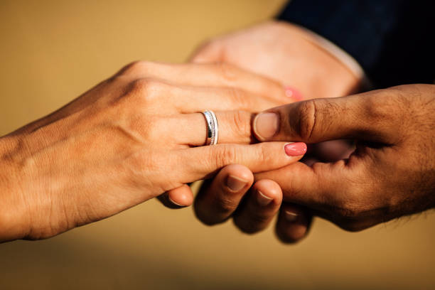 wedding ring - diamond ring hand stock pictures, royalty-free photos & images