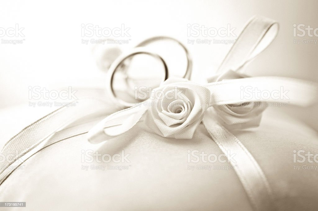 Wedding Ring Pillow, focus on Rose shallow depth of field stock photo