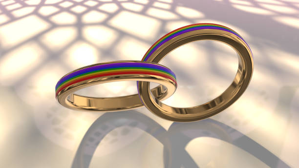 Wedding ring same sex marriage gay couple wedding rings 3D render stock photo