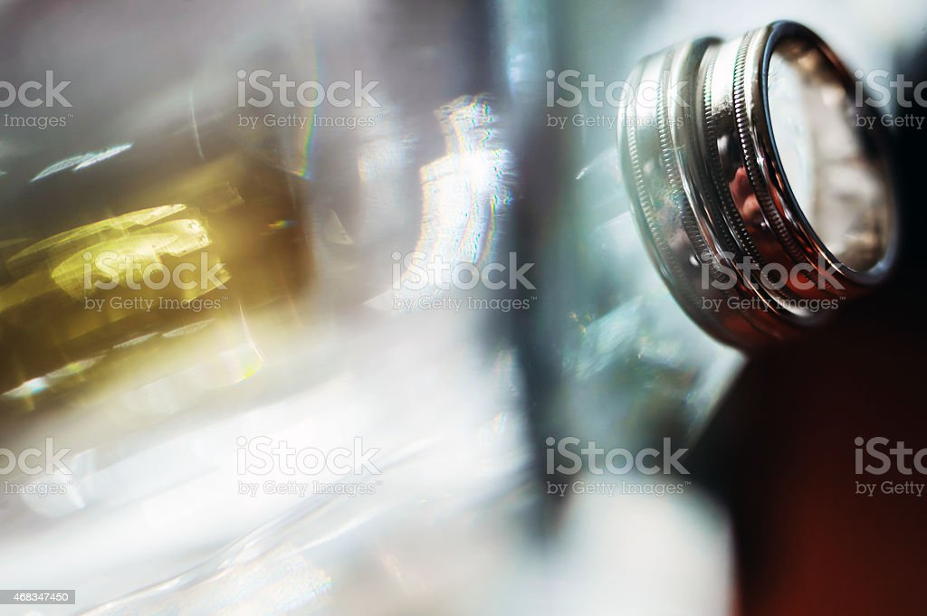 Wedding ring with reflected light from the glass royalty-free stock photo