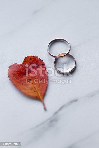 istock wedding rings and a red heart-shaped leaf on a marble background. Wedding concept or concept of Valentine's Day and all lovers 1182597872