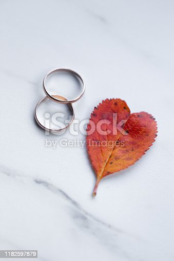 istock wedding rings and a red heart-shaped leaf on a marble background. Wedding concept or concept of Valentine's Day and all lovers 1182597879