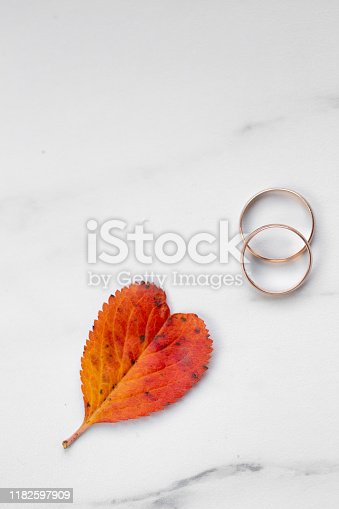 istock wedding rings and a red heart-shaped leaf on a marble background. Wedding concept or concept of Valentine's Day and all lovers 1182597909
