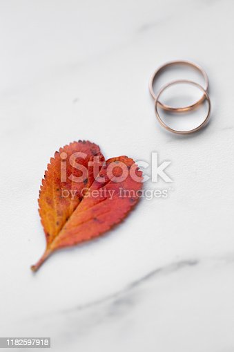 istock wedding rings and a red heart-shaped leaf on a marble background. Wedding concept or concept of Valentine's Day and all lovers 1182597918