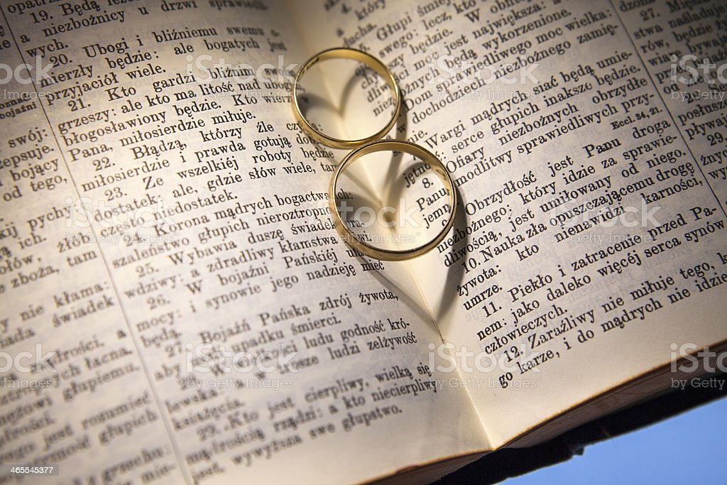 Wedding Rings and Bible stock photo
