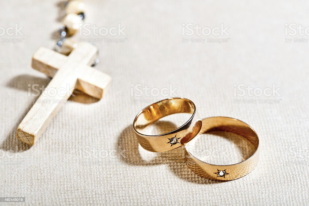 Wedding Rings And Cross Stock Photo Download Image Now Istock
