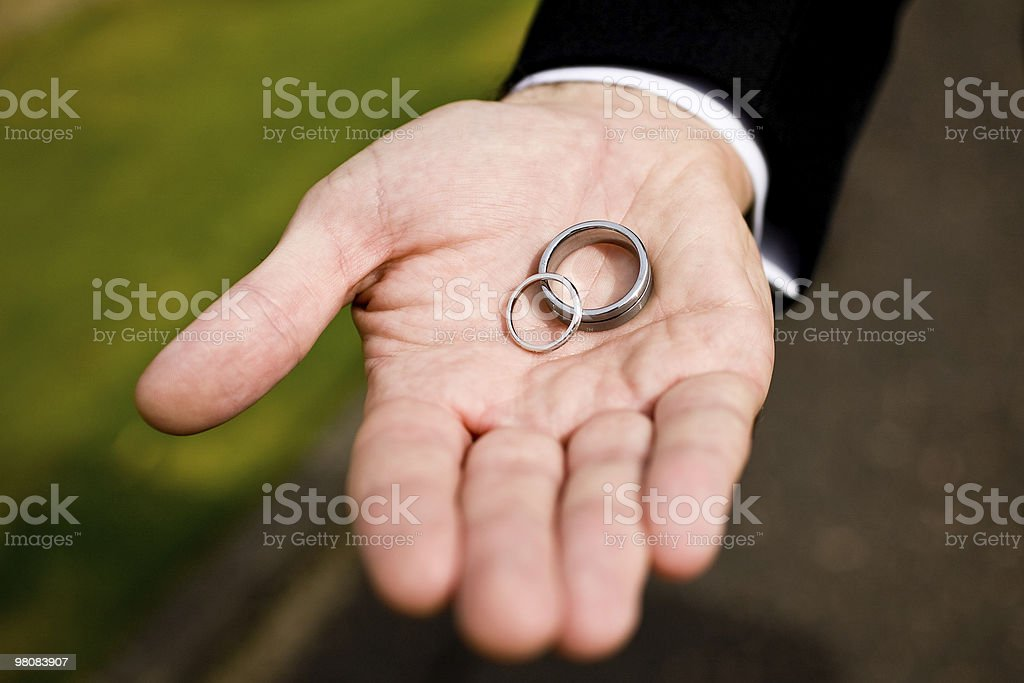 wedding rings and male hand royalty-free stock photo