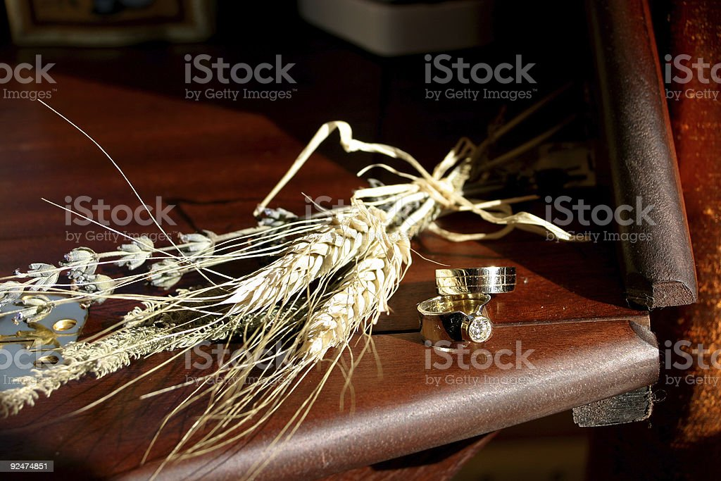 Wedding rings and wheat royalty-free stock photo