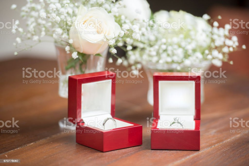 Wedding Rings For Bride And Groom On The Table With White Flowers